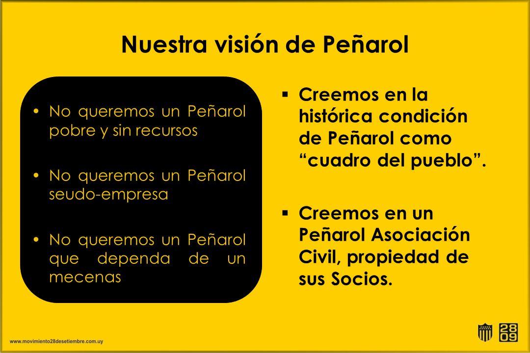 Nuestra visión de Peñarol No queremos un Peñarol pobre y sin recursos No queremos un Peñarol seudo-empresa No queremos un Peñarol que dependa de un me