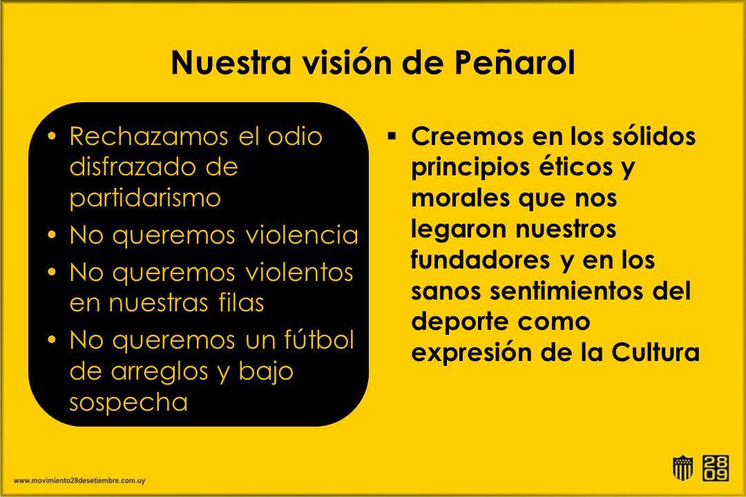 Nuestra visión de Peñarol Rechazamos el odio disfrazado de partidarismo No queremos violencia No queremos violentos en nuestras filas No queremos un f
