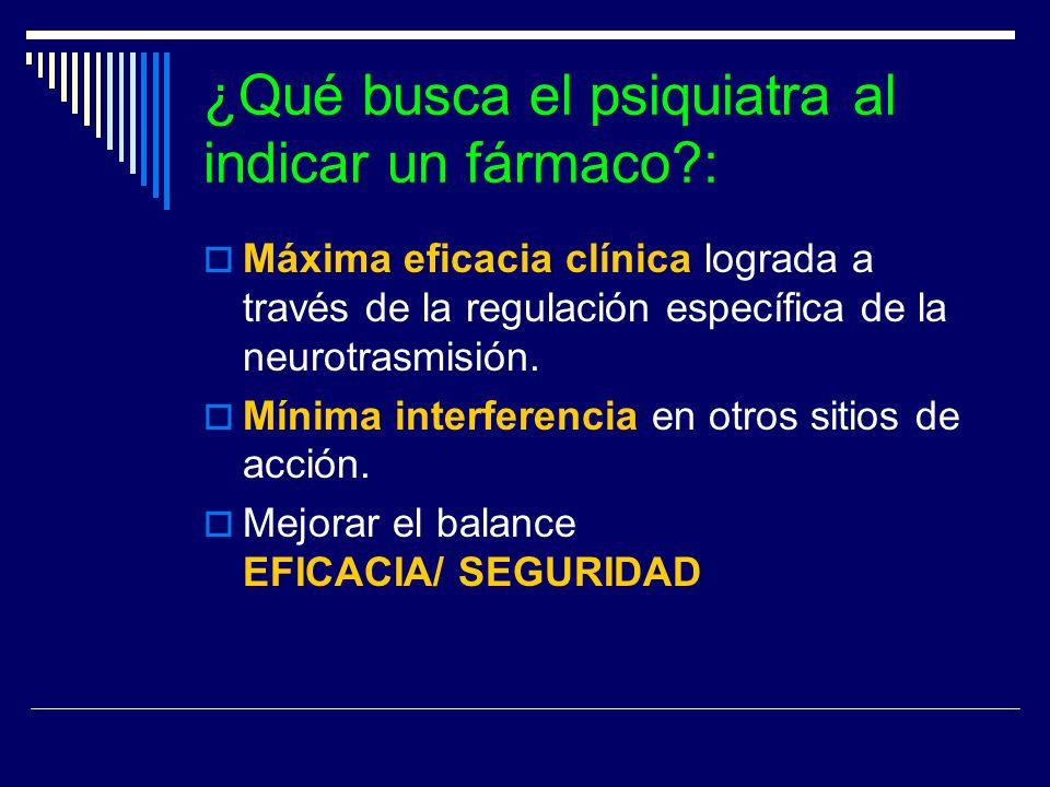 ¿Qué busca el psiquiatra al indicar un fármaco?: Máxima eficacia clínica lograda a través de la regulación específica de la neurotrasmisión. Mínima in