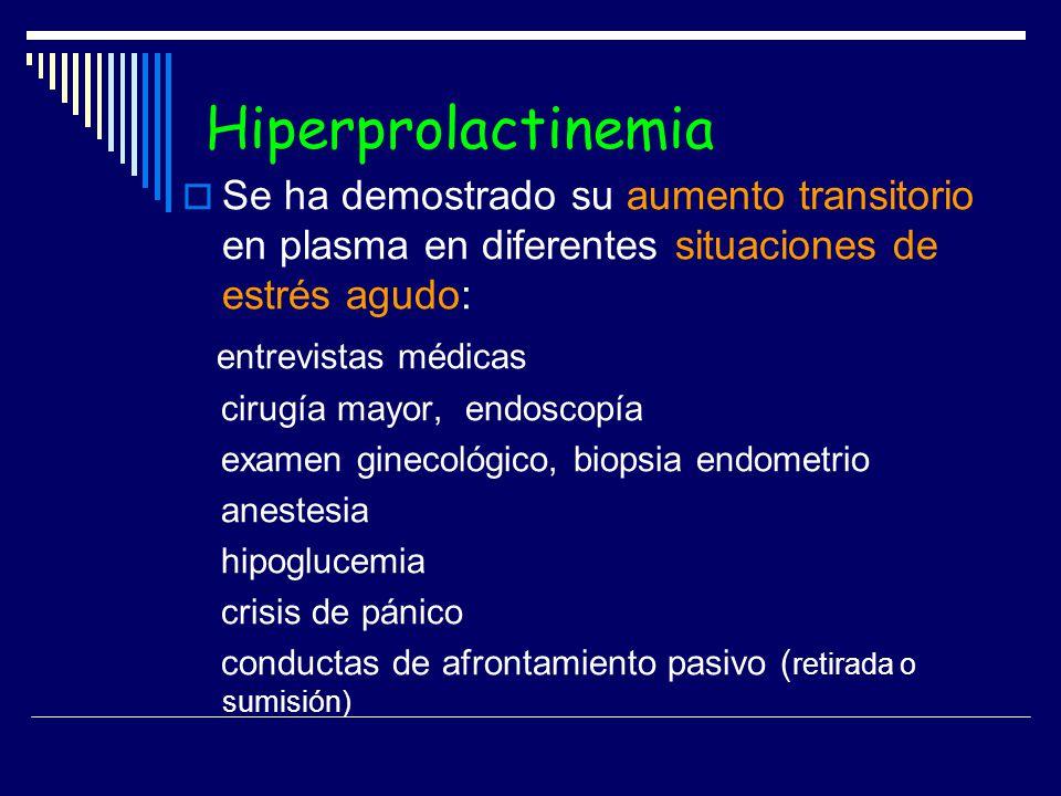 Hiperprolactinemia Se ha demostrado su aumento transitorio en plasma en diferentes situaciones de estrés agudo: entrevistas médicas cirugía mayor, end