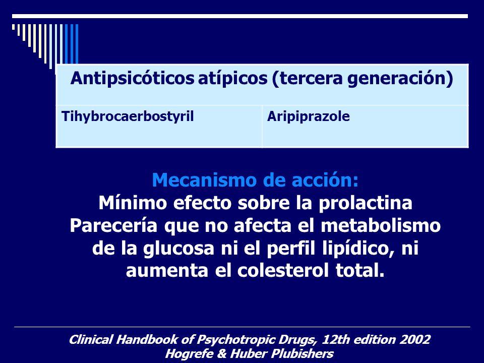 Antipsicóticos atípicos (tercera generación) TihybrocaerbostyrilAripiprazole Clinical Handbook of Psychotropic Drugs, 12th edition 2002 Hogrefe & Hube