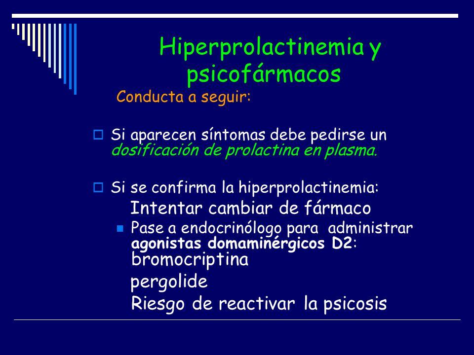 Hiperprolactinemia y psicofármacos Conducta a seguir: Si aparecen síntomas debe pedirse un dosificación de prolactina en plasma. Si se confirma la hip