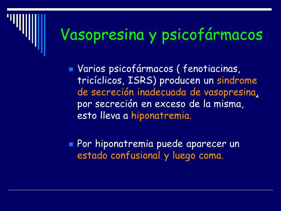 Vasopresina y psicofármacos Varios psicofármacos ( fenotiacinas, tricíclicos, ISRS) producen un sindrome de secreción inadecuada de vasopresina, por s