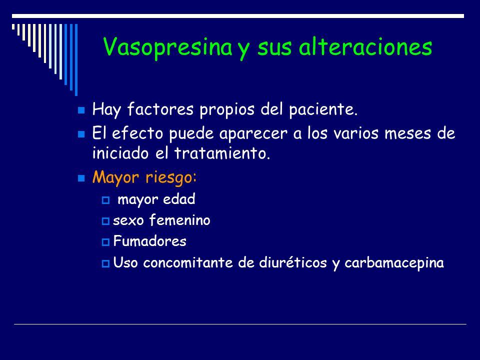 Vasopresina y sus alteraciones Hay factores propios del paciente. El efecto puede aparecer a los varios meses de iniciado el tratamiento. Mayor riesgo