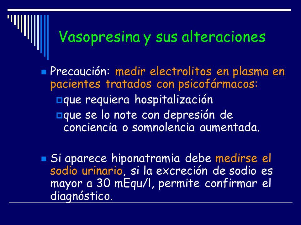 Vasopresina y sus alteraciones Precaución: medir electrolitos en plasma en pacientes tratados con psicofármacos: que requiera hospitalización que se l