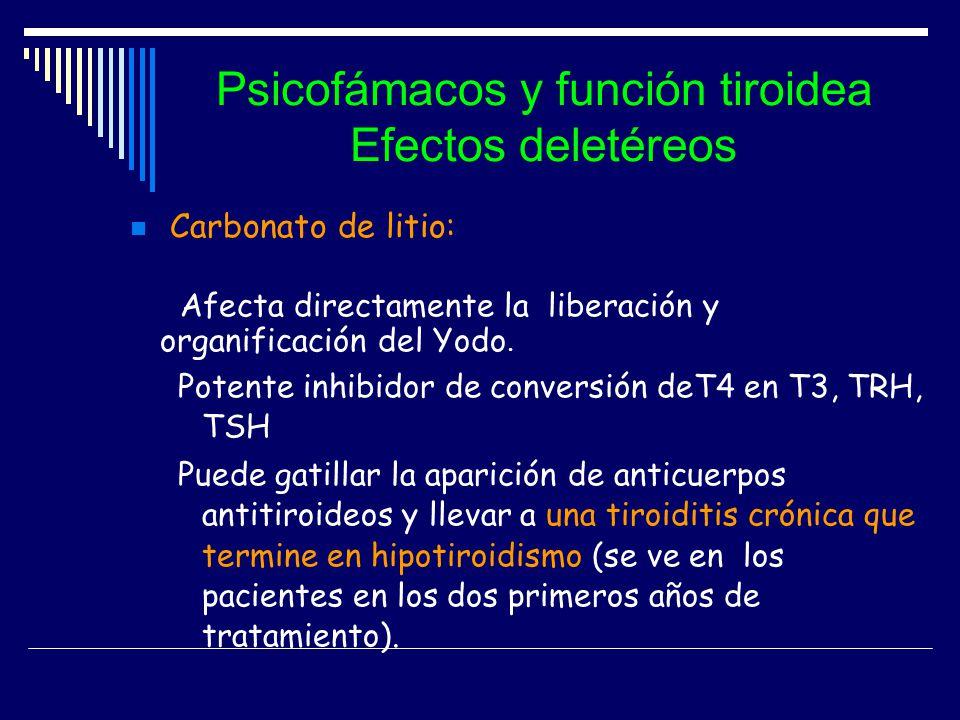 Psicofámacos y función tiroidea Efectos deletéreos Carbonato de litio: Afecta directamente la liberación y organificación del Yodo. Potente inhibidor