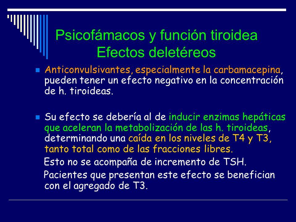 Psicofámacos y función tiroidea Efectos deletéreos Anticonvulsivantes, especialmente la carbamacepina, pueden tener un efecto negativo en la concentra