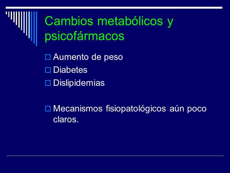 Cambios metabólicos y psicofármacos Aumento de peso Diabetes Dislipidemias Mecanismos fisiopatológicos aún poco claros.