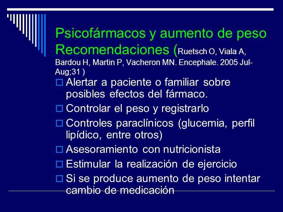 Psicofármacos y aumento de peso Recomendaciones ( Ruetsch O, Viala A, Bardou H, Martin P, Vacheron MN. Encephale. 2005 Jul- Aug;31 ) Alertar a pacient