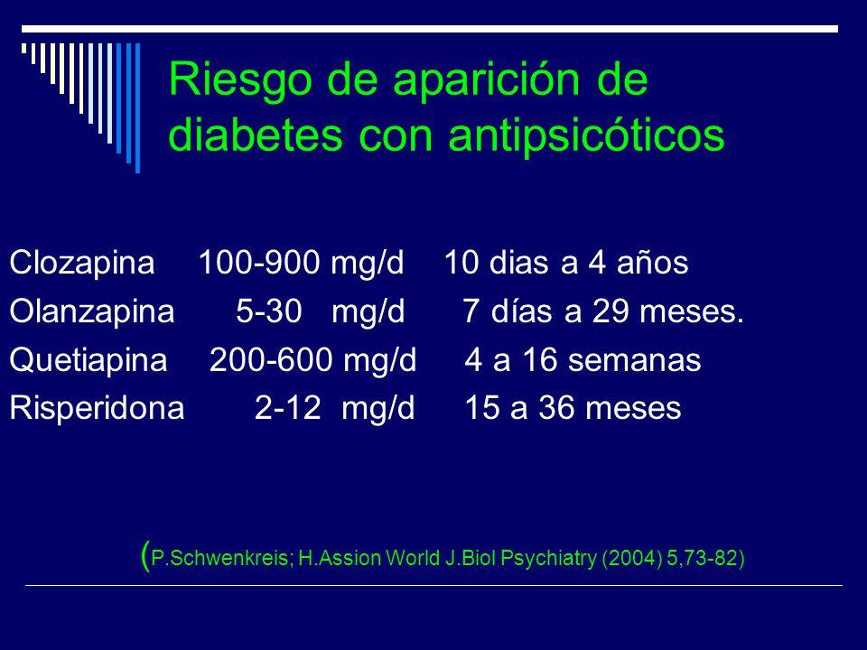Riesgo de aparición de diabetes con antipsicóticos Clozapina 100-900 mg/d 10 dias a 4 años Olanzapina 5-30 mg/d 7 días a 29 meses. Quetiapina 200-600