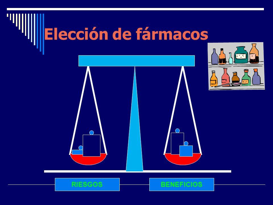 RIESGOSBENEFICIOS Elección de fármacos