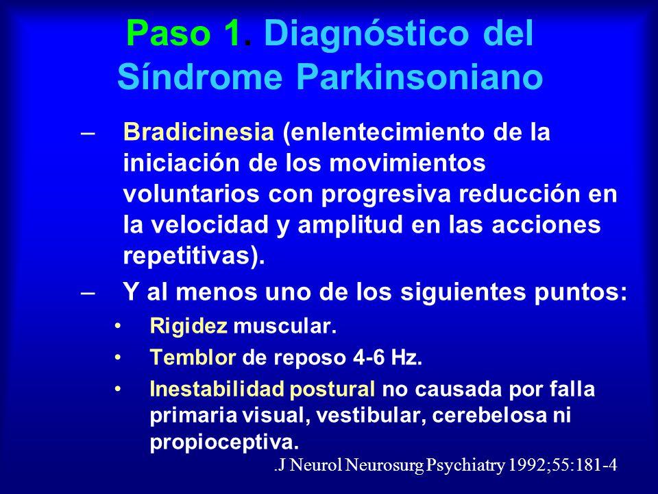 Paso 1. Diagnóstico del Síndrome Parkinsoniano –Bradicinesia (enlentecimiento de la iniciación de los movimientos voluntarios con progresiva reducción