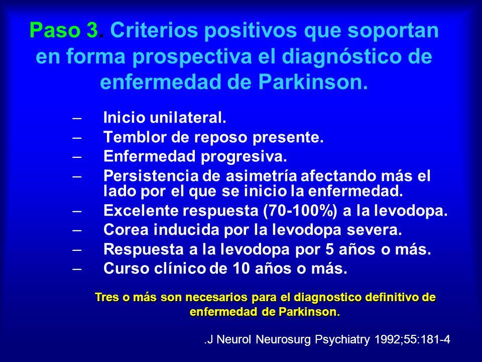 Paso 3. Criterios positivos que soportan en forma prospectiva el diagnóstico de enfermedad de Parkinson. –Inicio unilateral. –Temblor de reposo presen
