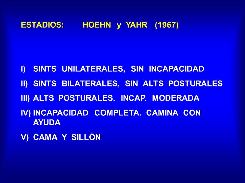 ESTADIOS: HOEHN y YAHR (1967) I)SINTS UNILATERALES, SIN INCAPACIDAD II)SINTS BILATERALES, SIN ALTS POSTURALES III)ALTS POSTURALES. INCAP. MODERADA IV)