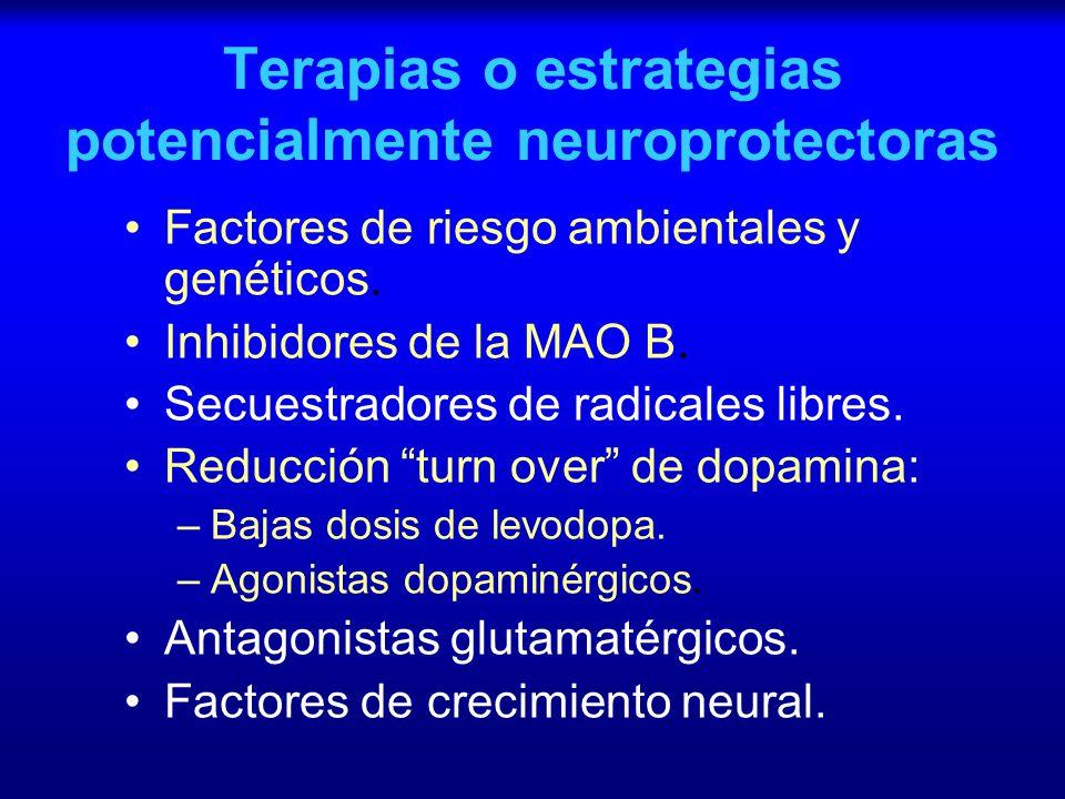 Terapias o estrategias potencialmente neuroprotectoras Factores de riesgo ambientales y genéticos. Inhibidores de la MAO B. Secuestradores de radicale