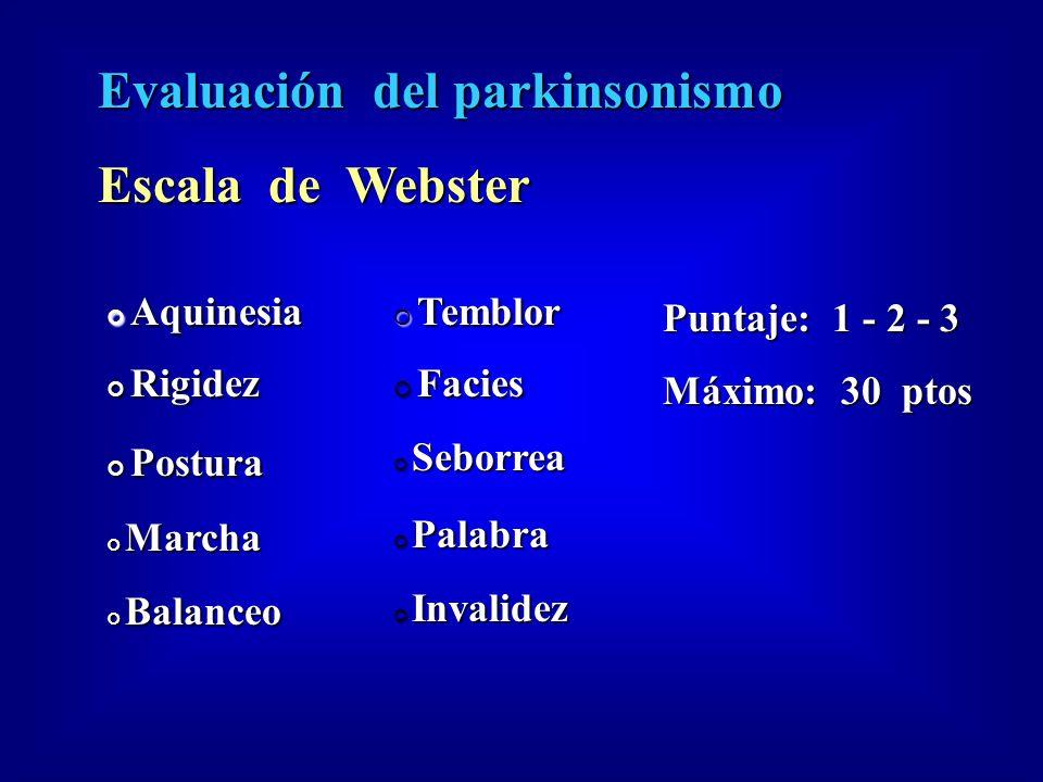 Evaluación del parkinsonismo Escala de Webster Aquinesia Aquinesia Rigidez Rigidez Postura Postura Marcha Marcha Balanceo Balanceo Temblor Temblor Fac