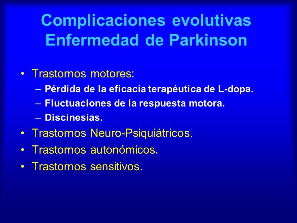 Complicaciones evolutivas Enfermedad de Parkinson Trastornos motores: –Pérdida de la eficacia terapéutica de L-dopa. –Fluctuaciones de la respuesta mo