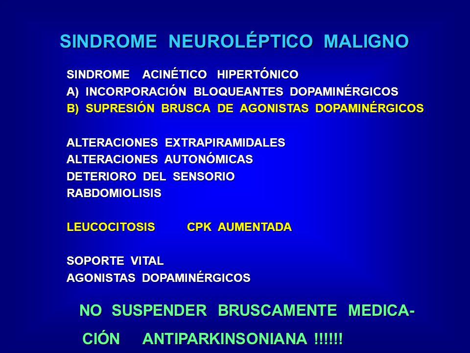 SINDROME NEUROLÉPTICO MALIGNO SINDROME ACINÉTICO HIPERTÓNICO A) INCORPORACIÓN BLOQUEANTES DOPAMINÉRGICOS B) SUPRESIÓN BRUSCA DE AGONISTAS DOPAMINÉRGIC