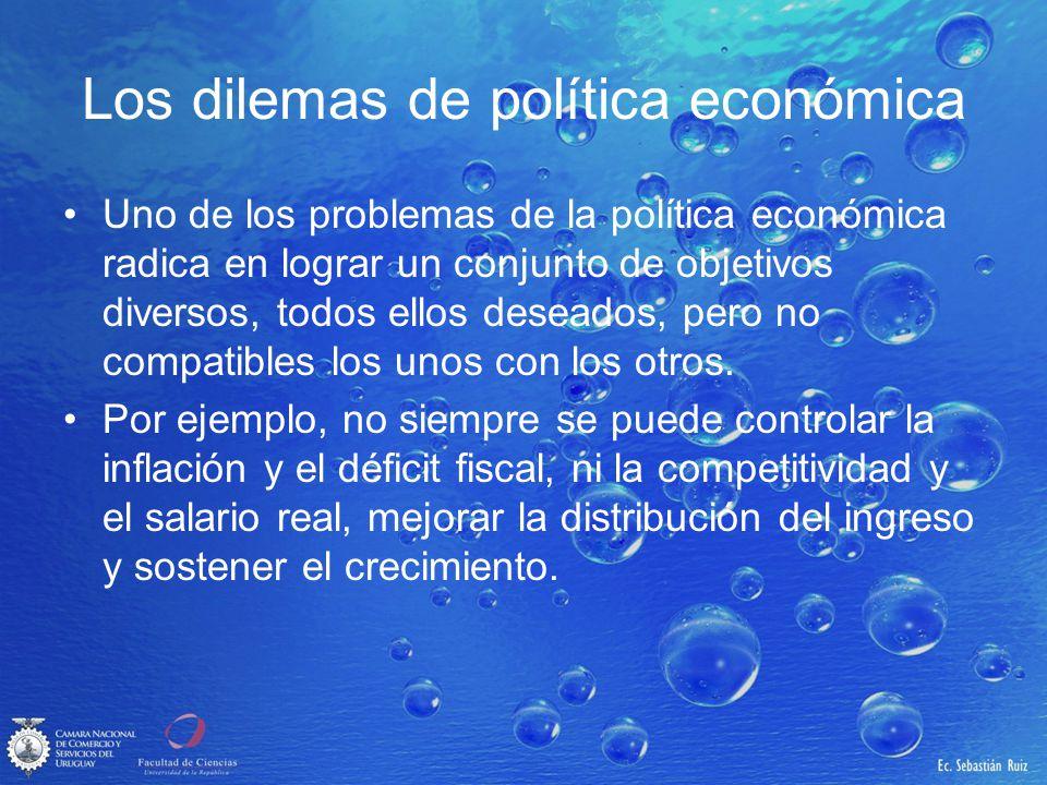Los dilemas de política económica Uno de los problemas de la política económica radica en lograr un conjunto de objetivos diversos, todos ellos desead