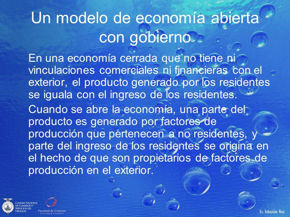 Un modelo de economía abierta con gobierno En una economía cerrada que no tiene ni vinculaciones comerciales ni financieras con el exterior, el produc