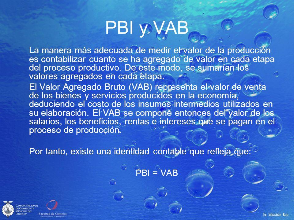 PBI y VAB La manera más adecuada de medir el valor de la producción es contabilizar cuanto se ha agregado de valor en cada etapa del proceso productiv