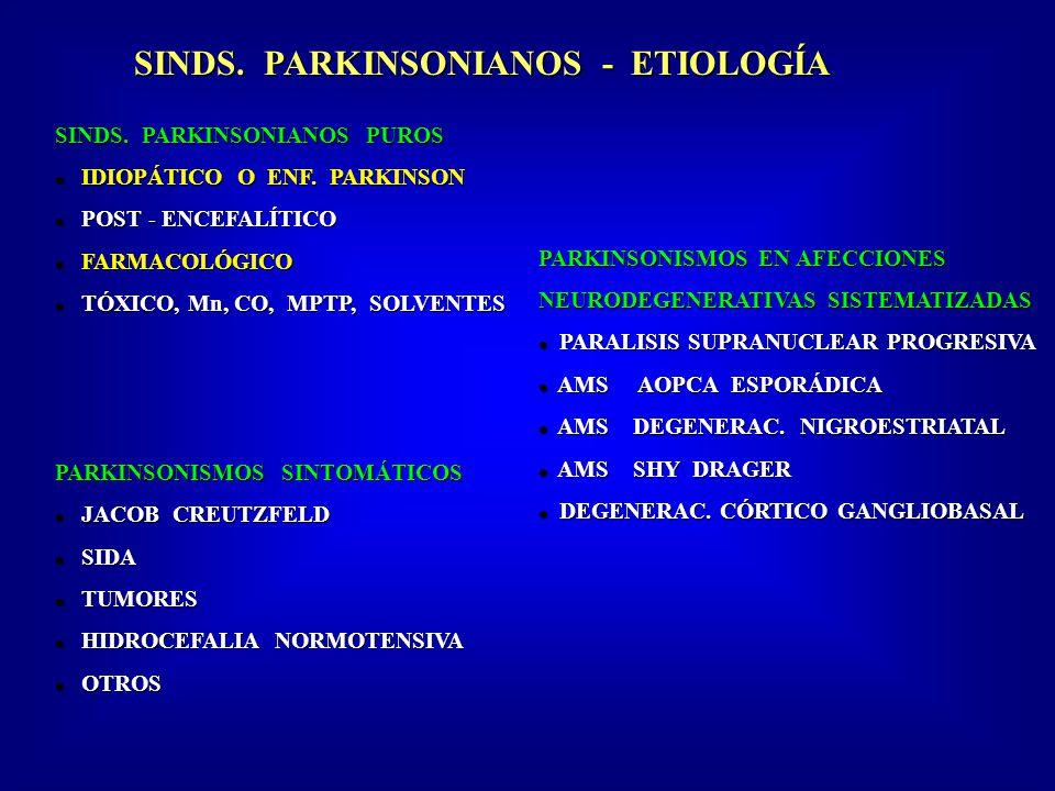 SINDS.PARKINSONIANOS - ETIOLOGÍA SINDS. PARKINSONIANOS PUROS IDIOPÁTICO O ENF.
