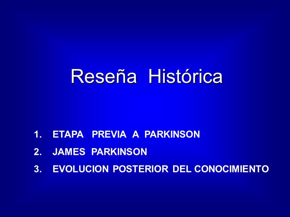 Reseña Histórica Reseña Histórica 1.ETAPA PREVIA A PARKINSON 2.