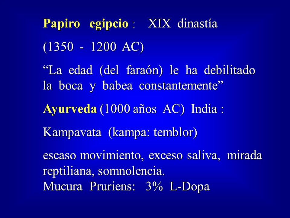 Papiro egipcio : XIX dinastía (1350 - 1200 AC) La edad (del faraón) le ha debilitado la boca y babea constantemente Ayurveda (1000 años AC) India : Kampavata (kampa: temblor) escaso movimiento, exceso saliva, mirada reptiliana, somnolencia.