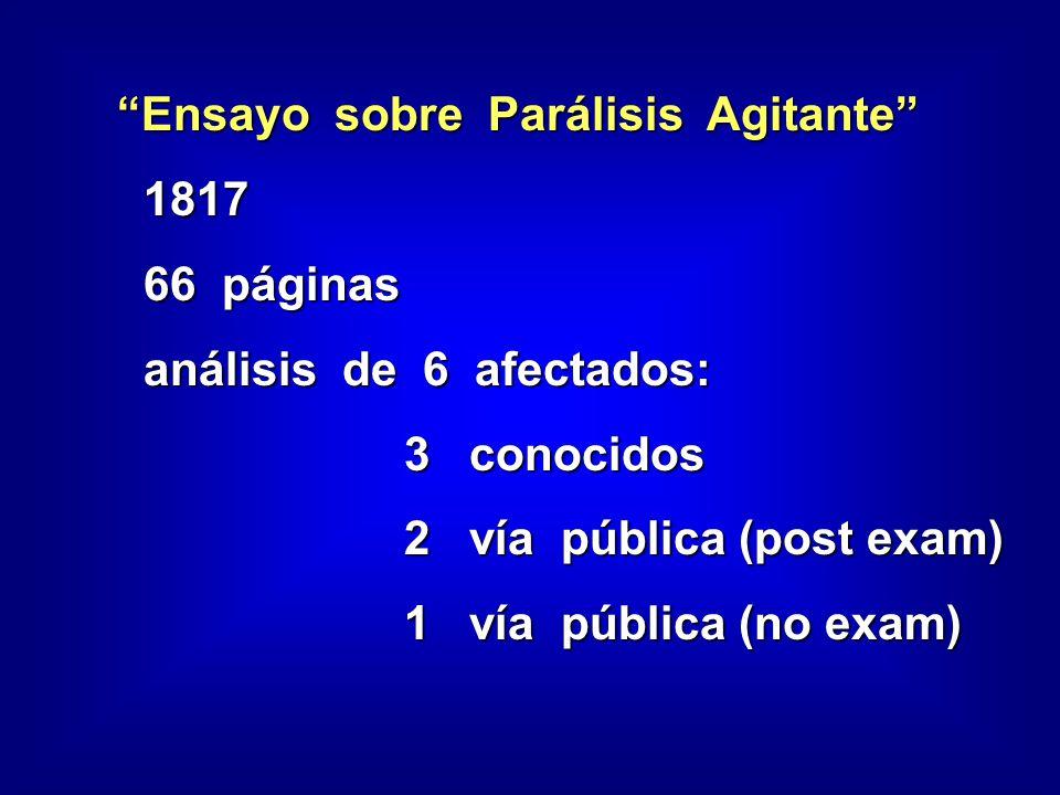 Ensayo sobre Parálisis Agitante 1817 1817 66 páginas 66 páginas análisis de 6 afectados: análisis de 6 afectados: 3 conocidos 3 conocidos 2 vía pública (post exam) 2 vía pública (post exam) 1 vía pública (no exam) 1 vía pública (no exam)