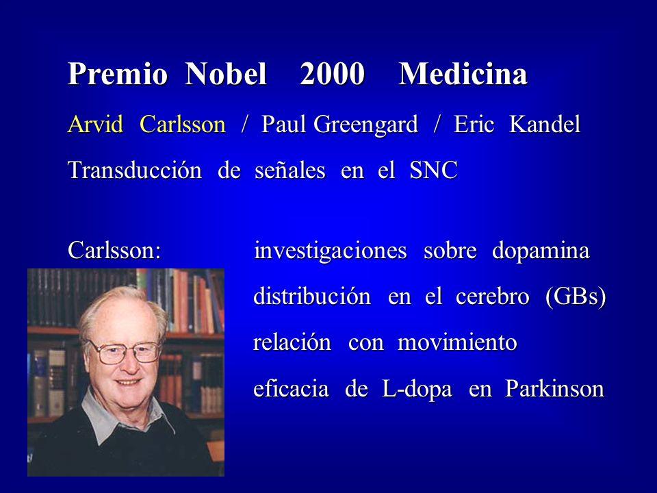 Premio Nobel 2000 Medicina Arvid Carlsson / Paul Greengard / Eric Kandel Transducción de señales en el SNC Carlsson: investigaciones sobre dopamina Carlsson: investigaciones sobre dopamina distribución en el cerebro (GBs) distribución en el cerebro (GBs) relación con movimiento relación con movimiento eficacia de L-dopa en Parkinson eficacia de L-dopa en Parkinson