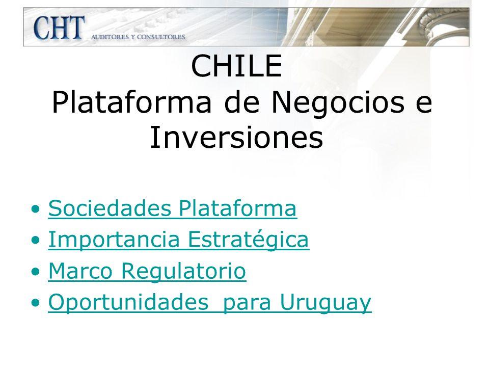 Oportunidades para Uruguay Uruguay no esta incluido en la lista restrictiva de Chile, tanto como país del accionista como país de la inversión Esto le permite aprovechar la existencia de tratados de libre comercio con USA, la UE, Corea, etc.