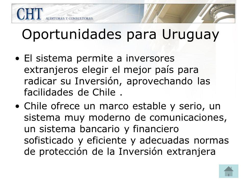 Oportunidades para Uruguay El sistema permite a inversores extranjeros elegir el mejor país para radicar su Inversión, aprovechando las facilidades de