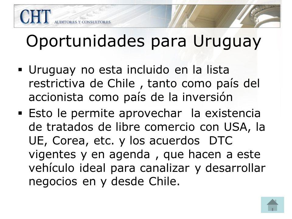 Oportunidades para Uruguay Uruguay no esta incluido en la lista restrictiva de Chile, tanto como país del accionista como país de la inversión Esto le