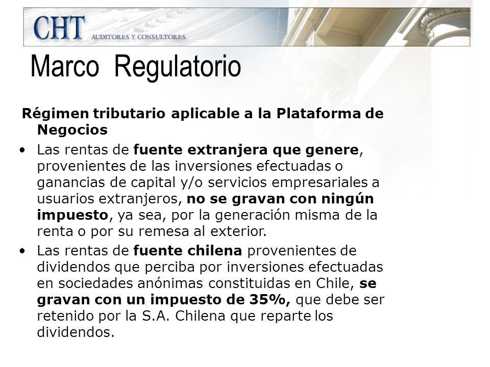 Régimen tributario aplicable a los socios de la Plataforma de Negocios.