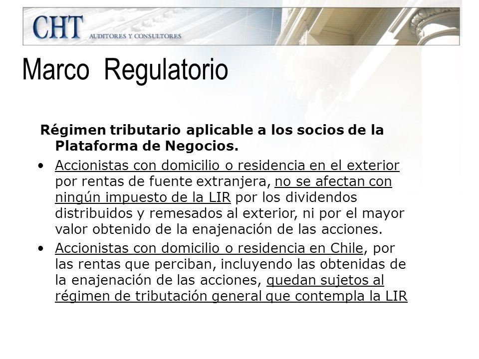 Régimen tributario aplicable a los socios de la Plataforma de Negocios. Accionistas con domicilio o residencia en el exterior por rentas de fuente ext