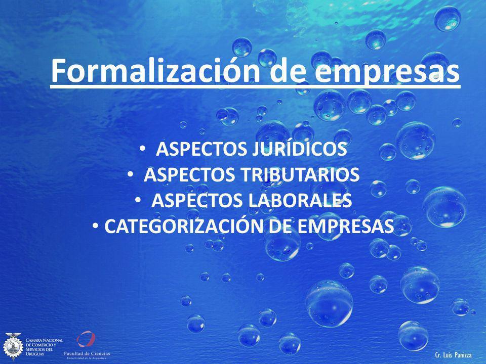 Formalización de empresas ASPECTOS JURÍDICOS ASPECTOS TRIBUTARIOS ASPECTOS LABORALES CATEGORIZACIÓN DE EMPRESAS