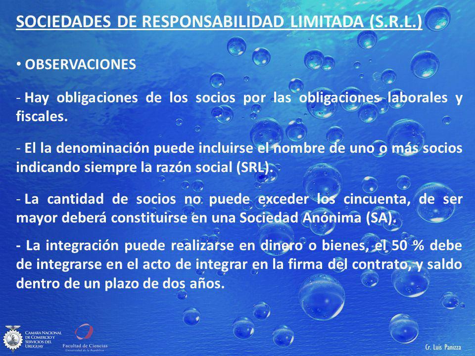 SOCIEDADES DE RESPONSABILIDAD LIMITADA (S.R.L.) OBSERVACIONES - Hay obligaciones de los socios por las obligaciones laborales y fiscales.