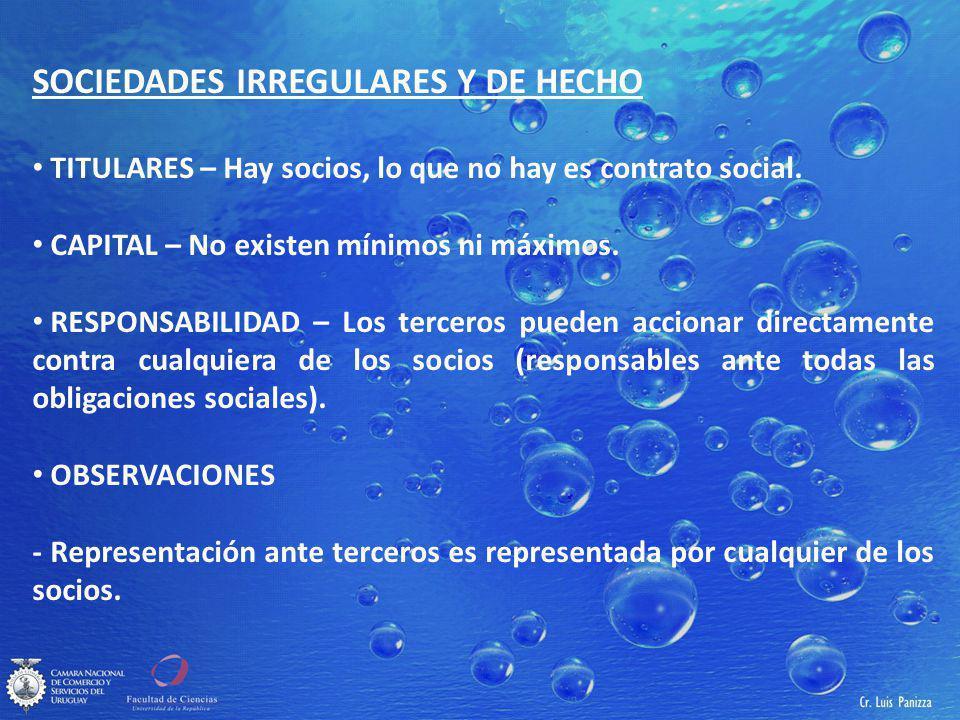 SOCIEDADES IRREGULARES Y DE HECHO TITULARES – Hay socios, lo que no hay es contrato social.