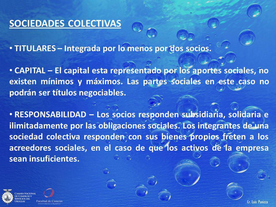 SOCIEDADES COLECTIVAS TITULARES – Integrada por lo menos por dos socios.