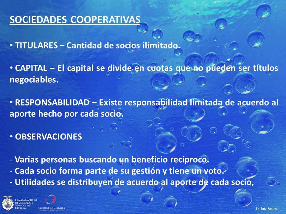 SOCIEDADES COOPERATIVAS TITULARES – Cantidad de socios ilimitado.