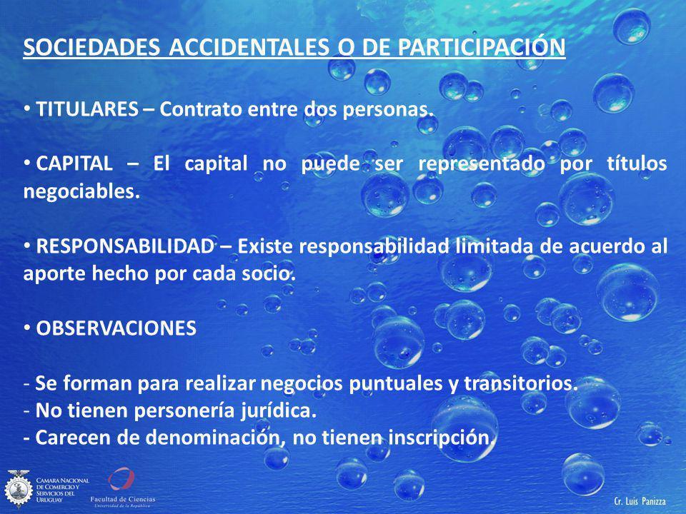 SOCIEDADES ACCIDENTALES O DE PARTICIPACIÓN TITULARES – Contrato entre dos personas.