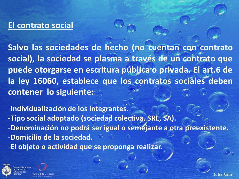 El contrato social Salvo las sociedades de hecho (no cuentan con contrato social), la sociedad se plasma a través de un contrato que puede otorgarse en escritura pública o privada.
