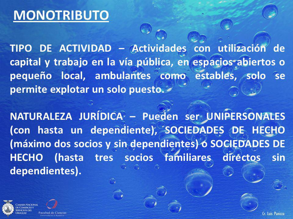 MONOTRIBUTO TIPO DE ACTIVIDAD – Actividades con utilización de capital y trabajo en la vía pública, en espacios abiertos o pequeño local, ambulantes como estables, solo se permite explotar un solo puesto.