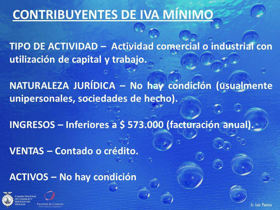 CONTRIBUYENTES DE IVA MÍNIMO TIPO DE ACTIVIDAD – Actividad comercial o industrial con utilización de capital y trabajo.