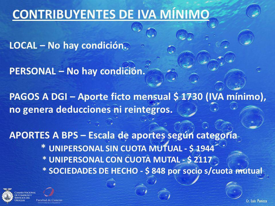 CONTRIBUYENTES DE IVA MÍNIMO LOCAL – No hay condición.