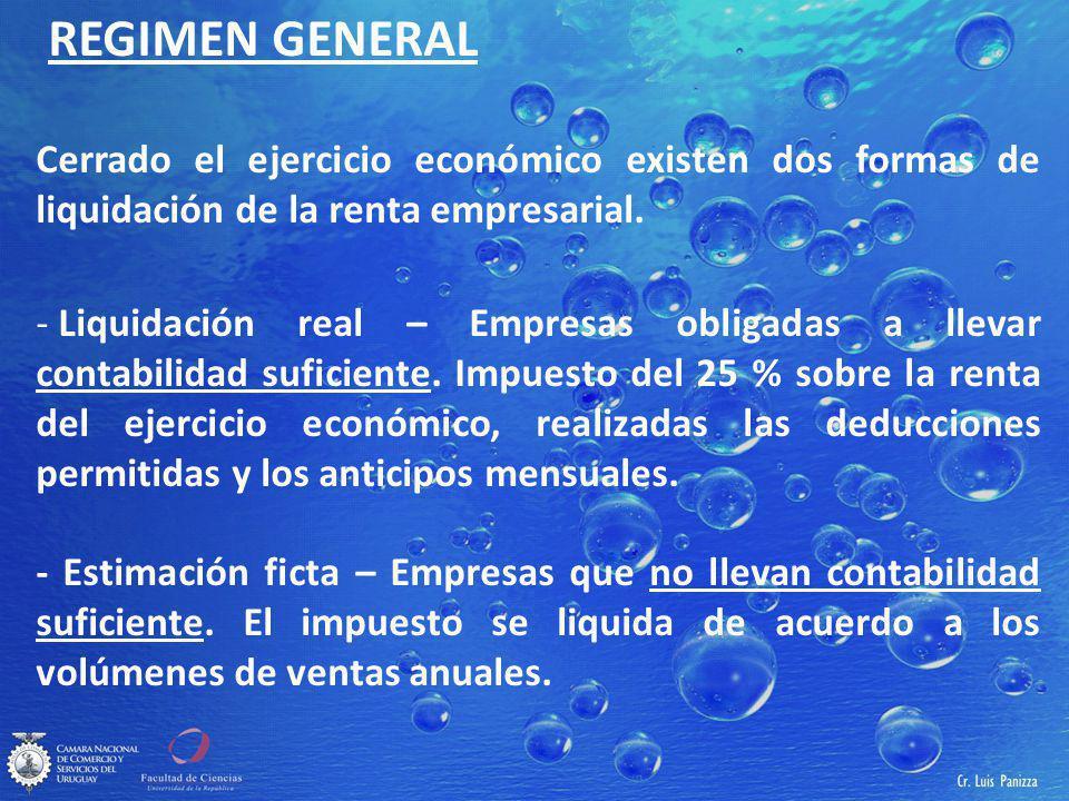 REGIMEN GENERAL Cerrado el ejercicio económico existen dos formas de liquidación de la renta empresarial.