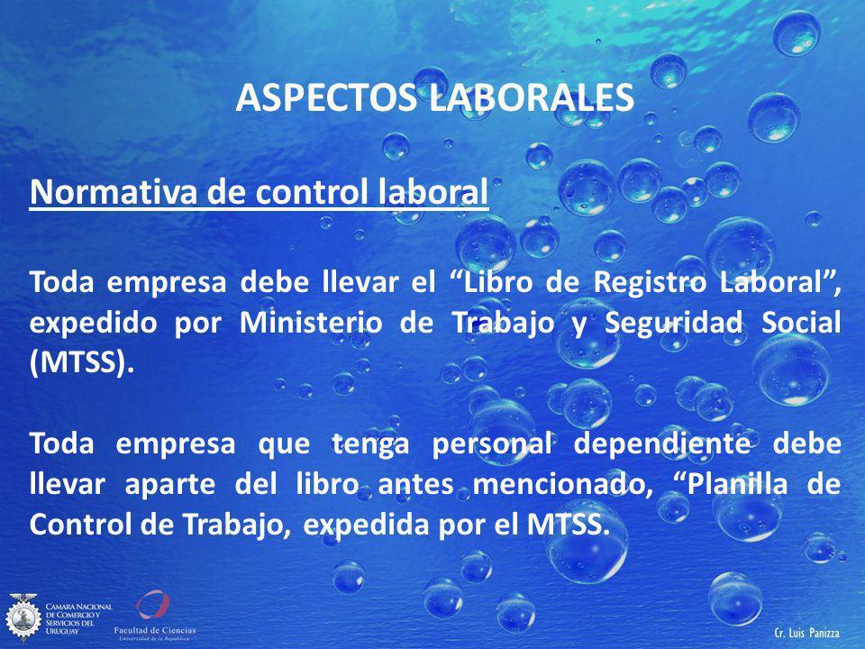 ASPECTOS LABORALES Normativa de control laboral Toda empresa debe llevar el Libro de Registro Laboral, expedido por Ministerio de Trabajo y Seguridad Social (MTSS).