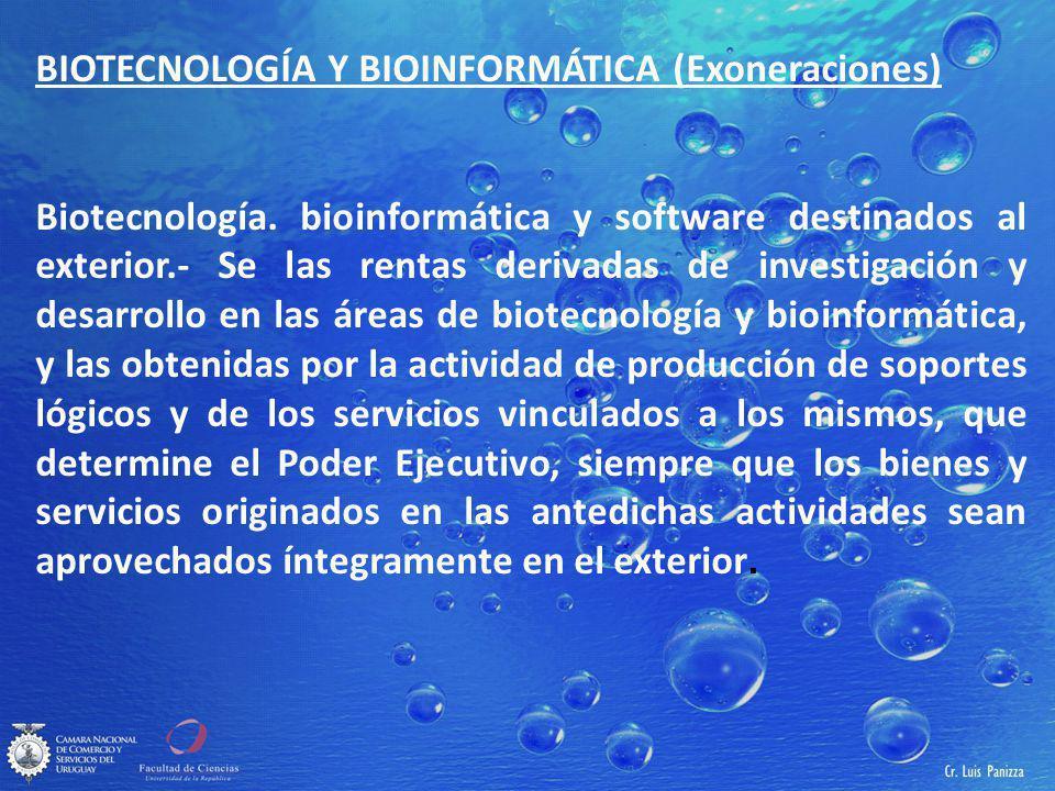 BIOTECNOLOGÍA Y BIOINFORMÁTICA (Exoneraciones) Biotecnología.