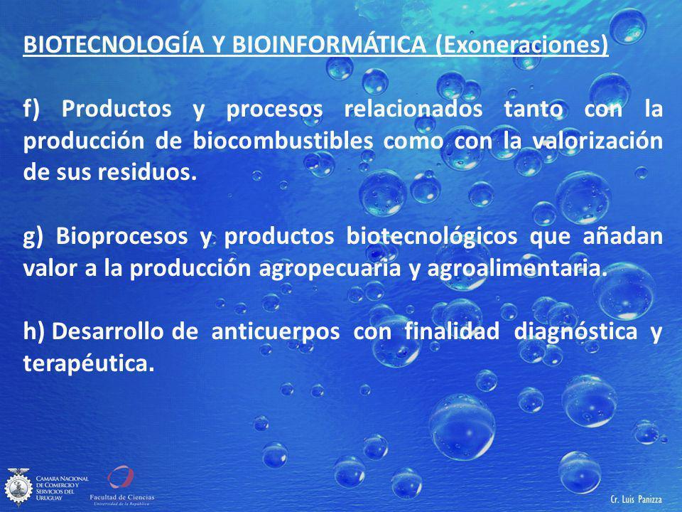 BIOTECNOLOGÍA Y BIOINFORMÁTICA (Exoneraciones) f) Productos y procesos relacionados tanto con la producción de biocombustibles como con la valorización de sus residuos.