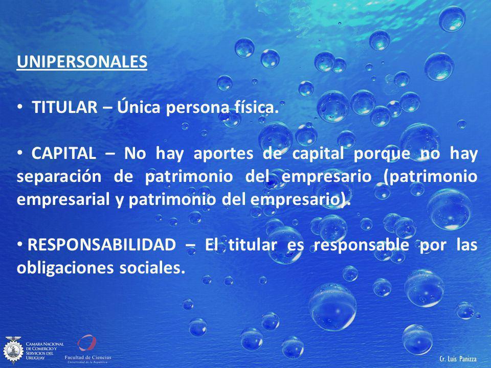 UNIPERSONALES TITULAR – Única persona física.